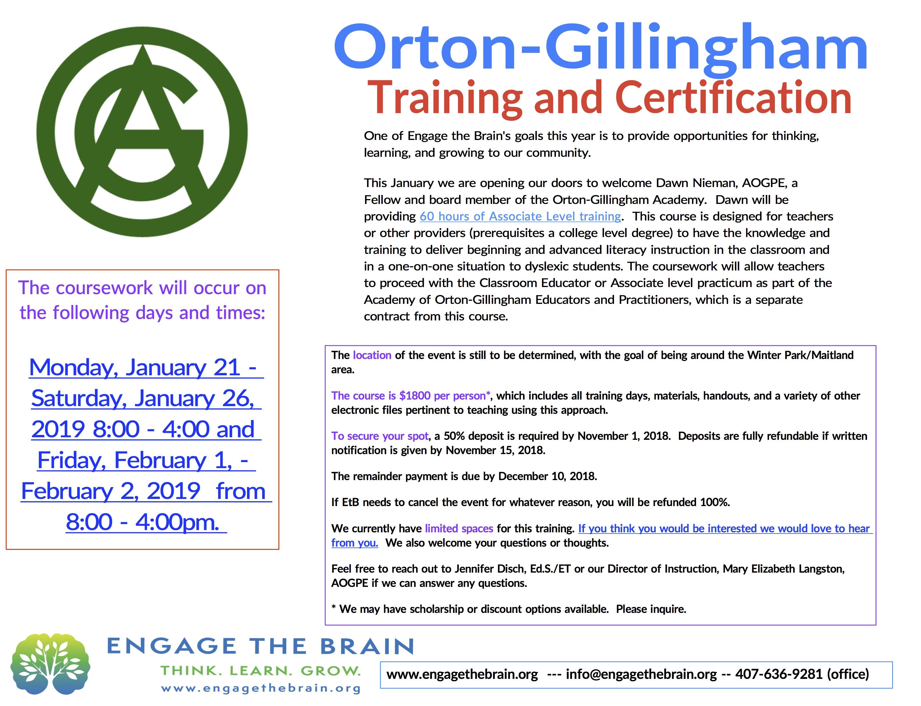 Orton-Gillingham Training